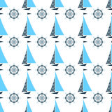 Segla fartyget och skeppstyrninghjulet vektor för marin- modell för illustration seamless vektor illustrationer