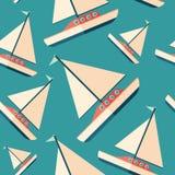 Segla modellen för plan symbol för yacht den sömlösa Royaltyfri Bild