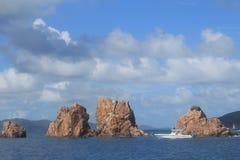 Segla och snorkla indierna i Britishen Virgin Islands Royaltyfri Foto