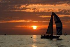 Segla på solnedgången Fotografering för Bildbyråer