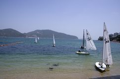 Segla på Stanley Beach Hong Kong Royaltyfri Foto