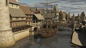 Segla ship på docksna stock illustrationer