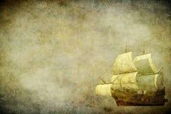 Segla ship på en grungebakgrund Arkivbild