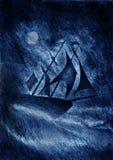 Segla Ship på skymningen Royaltyfria Bilder