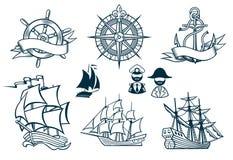 Segla shipsemblems Iconset stock illustrationer