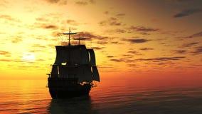 segla shipsolnedgång royaltyfri illustrationer