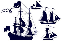 segla shipssilhouettes royaltyfri illustrationer