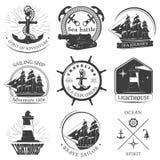 Segla svarta vita emblem vektor illustrationer