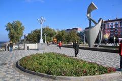 Segla utmed kusten i staden av samaraen, rysk federation arkivbilder
