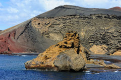 Vagga nära den gröna lagunen, El Golfo, Lanzarote, kanariefågelöar, Spa royaltyfri foto