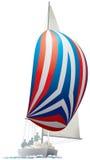 Segla yacht med den färgrika spinnakeren stock illustrationer