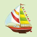 Segla yachten av en uppsättning av barns leksaker Royaltyfria Bilder
