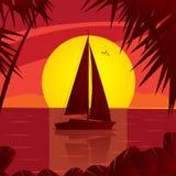 Segla yachten på det öppna havet på solnedgången stock illustrationer