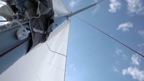 Seglar av den segla yachten i vinden stock video