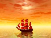 seglar scharlakansröd solnedgång royaltyfri illustrationer