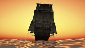 Segling och solnedgång Arkivbild