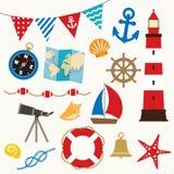Seglingbeståndsdelar stock illustrationer