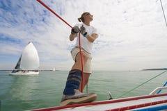 seglingkvinna Fotografering för Bildbyråer