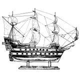 Seglingskeppmodell Den drog handen skissar, vektorn Royaltyfri Foto