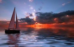 seglingsolnedgång fotografering för bildbyråer