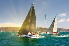 Seglingyachtlopp segling Att segla seglar i havet Royaltyfri Bild