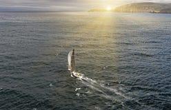 Seglingyachtlopp segling Segla yachten i havet Royaltyfria Foton