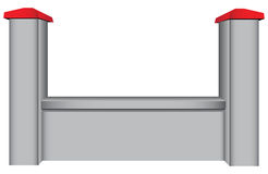 Segment concrete fence. The segment of the concrete fence with two columns. Vector illustration Royalty Free Stock Photos