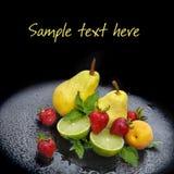 Segment de mémoire des fruits frais, des baies et de la menthe Photo libre de droits