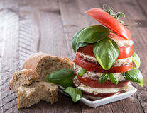 Segment de mémoire des parts de tomate et de mozzarella Image stock