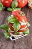 Segment de mémoire des parts de tomate et de mozzarella Photographie stock