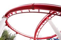 Segment der roten Achterbahnschiene Stockfotografie