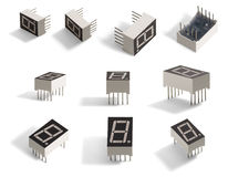7 segment 1 digit LED diplay. Stock Images