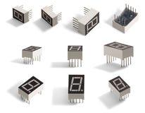 7 segment 1 digit LED diplay. Stock Images