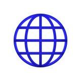 Segment för bakgrund för blå symbol för jordklot framför enkla vita Arkivfoton