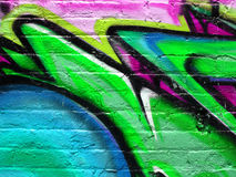 Segment of graffiti. On a wall of a derelict building Stock Photos