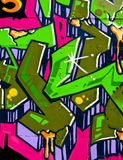 Segment of graffiti. On metal paneling on the side of an abandoned building Royalty Free Stock Images