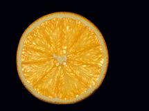 Segment of Orange fruit on a black background bursting with flavour. Juicy segment of a slice of orange with reflection isolated on a black background stock images