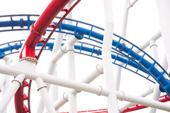 Segment of red and blue roller coaster rail Royalty Free Stock Images