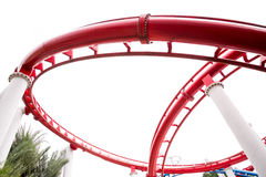 Segment of red roller coaster rail Stock Photography