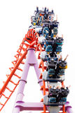 A segment of a roller coaster with player Royalty Free Stock Images
