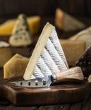 Segment van Brie of zachte koemelk Franse kaas op houten raad Verschillende kazen bij de achtergrond royalty-vrije stock foto's