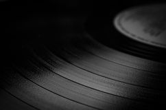 Segment of vinyl record with label showing the texture of the gr Stock Photography