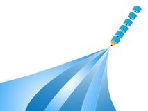 Segmentaal blauw potloodconcept Royalty-vrije Stock Afbeeldingen