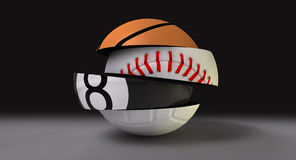 Segmentado fragmentado em volta da esfera dos esportes Fotografia de Stock Royalty Free