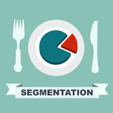 Segmentation concept - chart on a plate, one segment is separate. The cartoon Business idea concept royalty free illustration