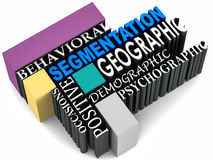 Segmentation types. Type of segmentation like behavioral geographic demographic psychographic positive occasions Royalty Free Stock Photography