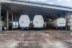 Segmente von Soyuz-Raketen in der Guayana-Raum-Mitte lizenzfreie stockbilder