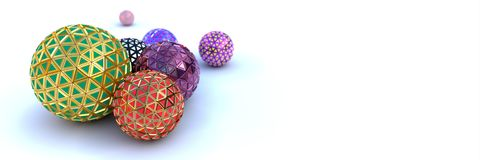 Segmented colorful spheres on white, perspective view royalty free stock images
