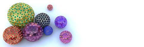 Segmented colorful spheres on white, top view stock images