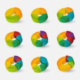 Segmented and multicolored pie charts set. Stock Image
